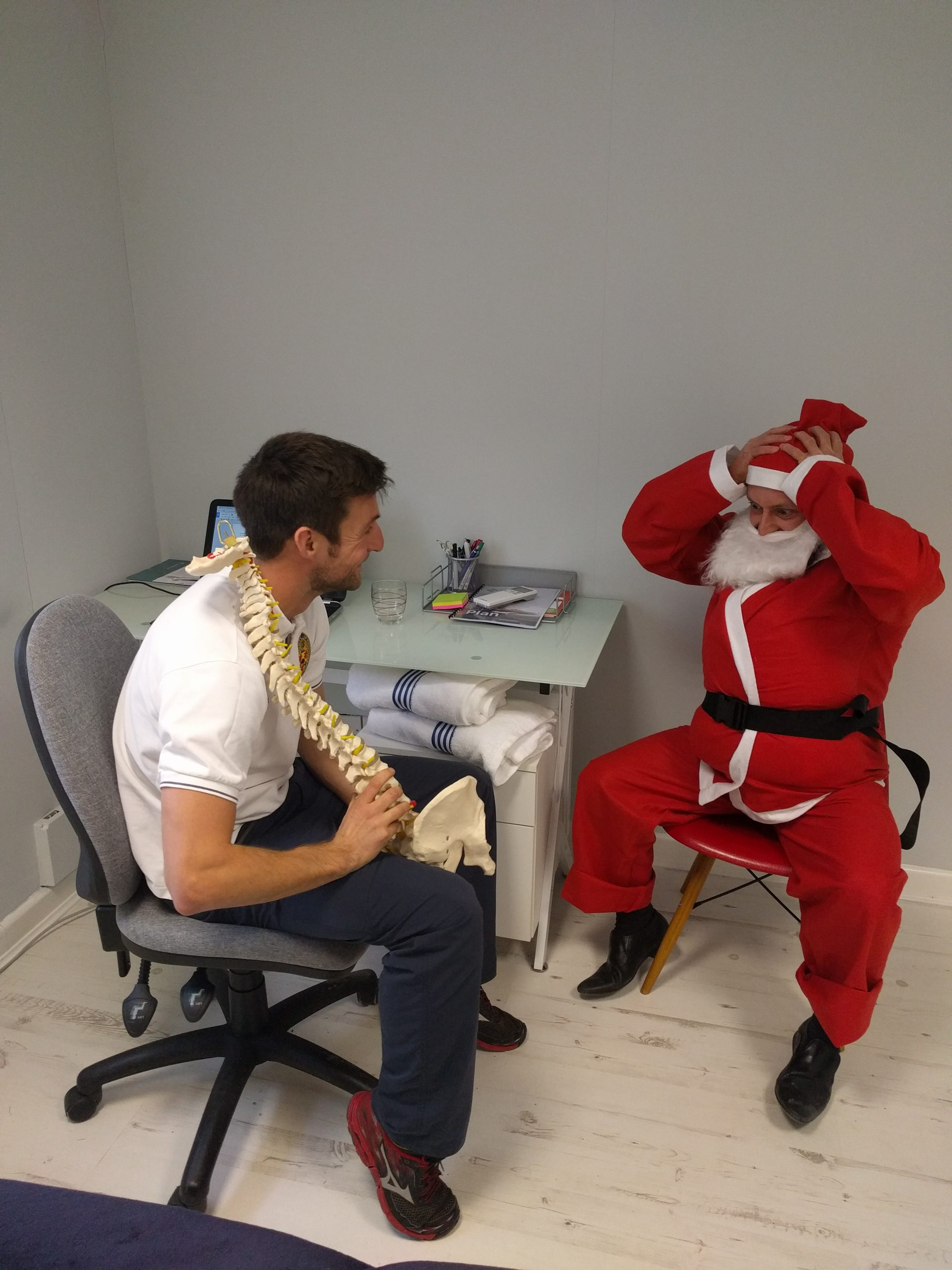 Santa's back at Physio & Pilates Central – and his back is playing up